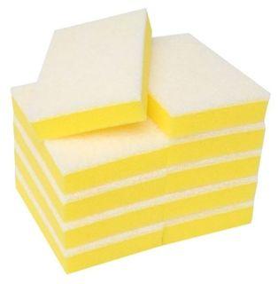 M Non Scratch Scouring Sponge Yellow/White - Pk 10
