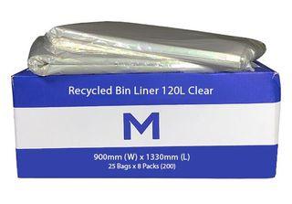 120Ltr Clear Wheelie Bin Liner - 25pk