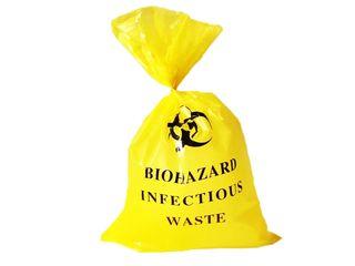 Yellow Biohazard Bag 50um (320x250) x880mm - Pack 25