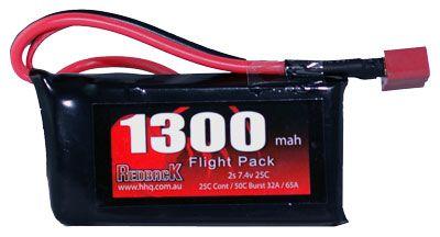 Redback Battery 7.4V Lipo 1300Mah 30CFlight