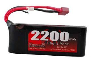 Redback Bat 7.4V Lipo 2200Mah 30C Tx Size