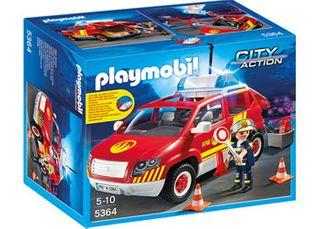 Playmobil Fire Chief Car W Lights/Sound