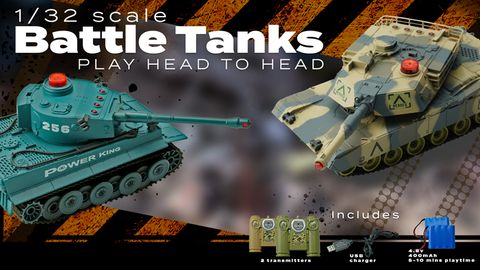 Toys 2.4 Ghz Battle Tanks W/Lights & Sounds