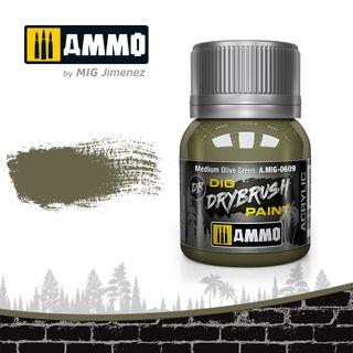 Ammo Paint, Drybrush Medium Olive Green40ml
