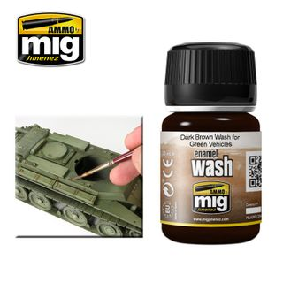 Ammo Paint, Dark Brown Wash For Green Vehicles 35ml