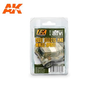 AK Interactive Enamel Dust Effects And White Spirit Set