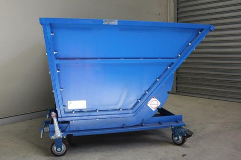 1000L Blue Tipping Waste Bin on Wheels
