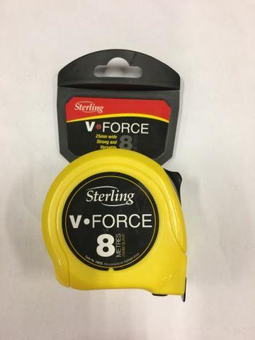 8M V Force Tape Measure 25mm Wide Blade