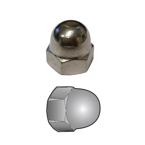 """STAINLESS STEEL DOME NUT 1/4"""" UNC"""
