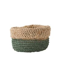 GREEN STRIPE/ROLL EDGE RND BASKET 25x20c