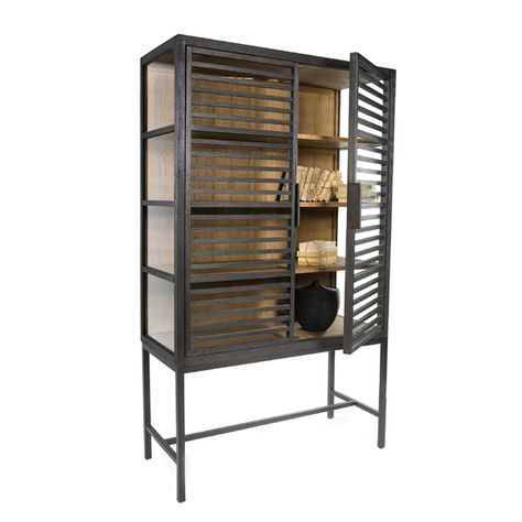 ##PUCK WOOD & GLASS CABINET ON STAND