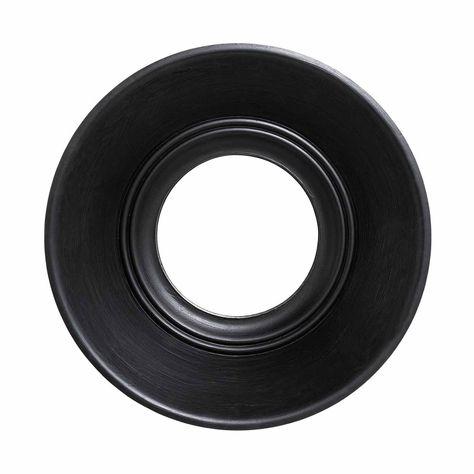 BLACK ROUND WOODEN MIRROR D80cm