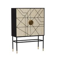 ##ABSTRACT CABINET in BONE INLAY w/BLACK