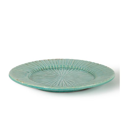 FIA ROUND CERAMIC PLATE - AQUA D40.5cm