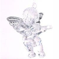 MEDIUM ACRYLIC ANGEL W/SILVER WINGS H6cm