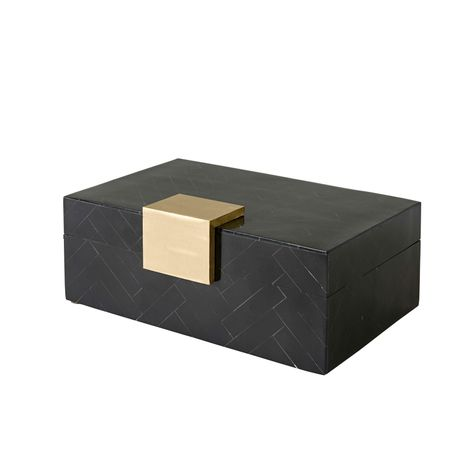 BLACK RESIN BOX w/BRASS HANDLE 20x13x8