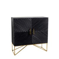 "##""LAVANI"" BLACK STAIN WOOD CABINET GOLD"