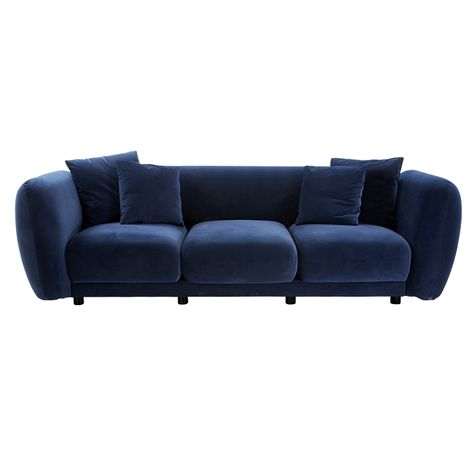 ##PALOME NAVY VELVET SOFA - 3 SEAT