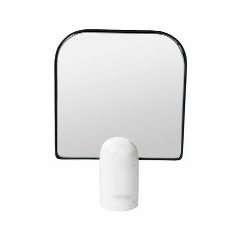WHITE MARBLE TABLE MIRROR H28cm