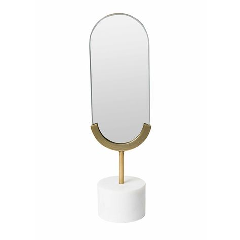 LONG OVAL WHITE MARBLE TABLE MIRROR