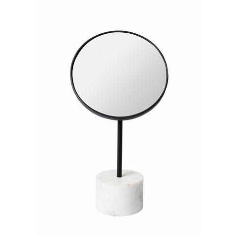 ROUND TILT WHITE MARBLE TABLE MIRROR H31