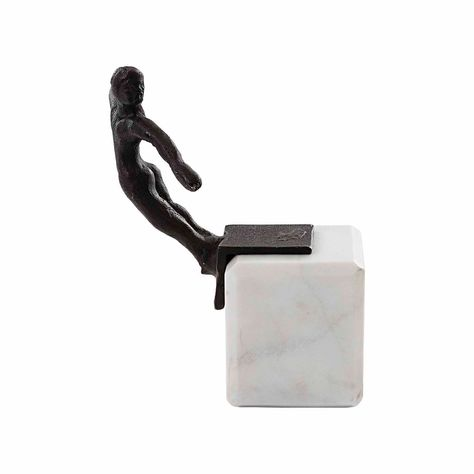 SWIMMER BOOKEND/ORN-BLACK BRONZE-MARBLE