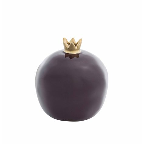 LRG GLAZED DEEP PURPLE GOLD POMEGRANATE