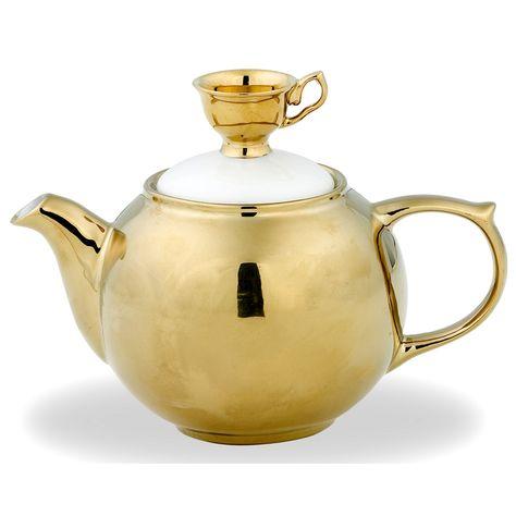 GOLD TEAPOT W/GOLD TEA CUP | MEDIUM