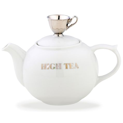 WHITE TEAPOT W/SILVER TEACUP | LARGE