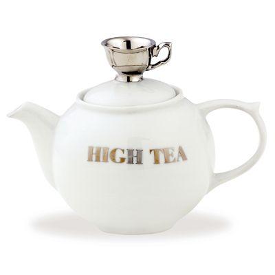 MEDIUM TEAPOT - WHITE W/SILVER TEA CUP