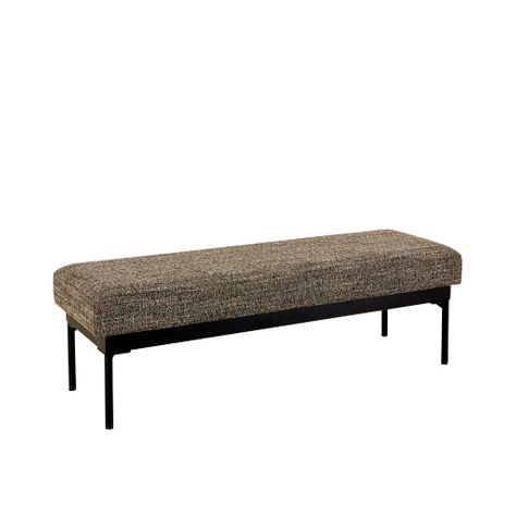 ADI OTTOMAN- BLACK/WHITE/TAN/GREY TWEED