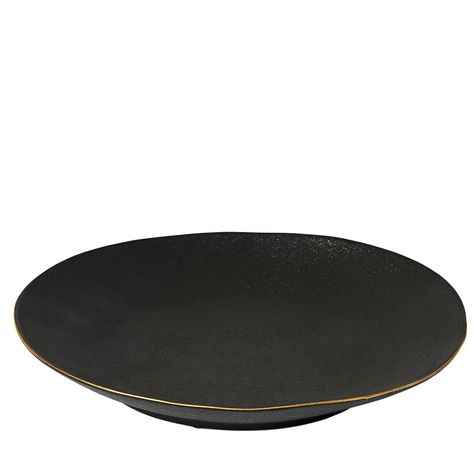 'AMARO' DINNER PLATE - BLACK w/GOLD TRIM