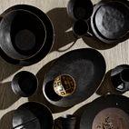 'AMARO' SIDE PLATE - BLACK w/GOLD TRIM