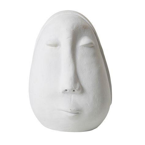 LARGE CERAMIC FACE ORNAMENT - MATT WHITE