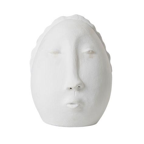 SMALL CERAMIC FACE ORNAMENT - MATT WHITE
