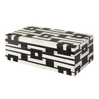 BLK & IVORY GEO PATTERN BONE BOX 20x10