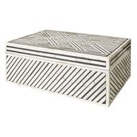 SMALL BLACK & IVORY PATTERNED BONE BOX