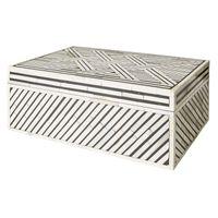 LARGE BLACK & IVORY PATTERNED BONE BOX