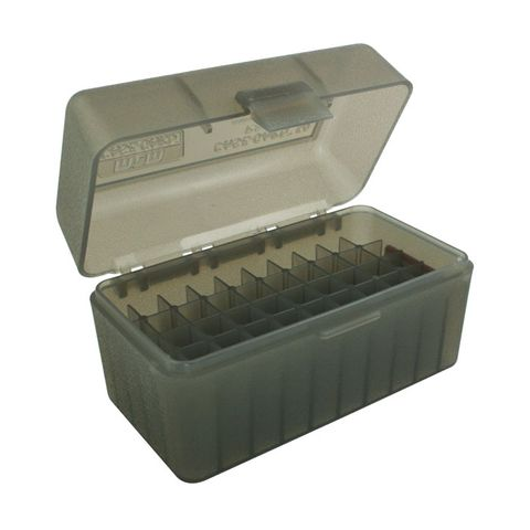 MTM 50RND AMMO BOX 222 223 CLEAR SMOKE