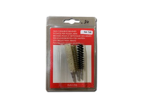 THREE BRUSH SET  WOOL BRISTLE AND BRONZE VARIOUS CALIBRES
