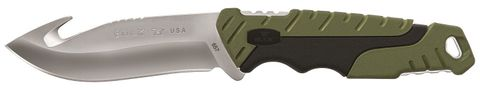 BUCK PURSUIT LG FIXED GUT HOOK GREEN MOLDED HANDLED KNIFE