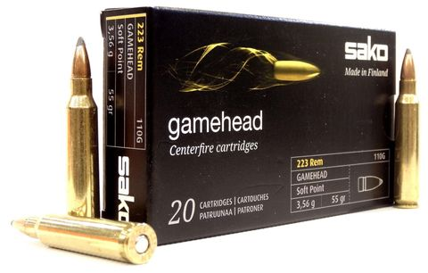SAKO AMMO 223 REM 55GR GAMEHEAD SP 110G 20PKT