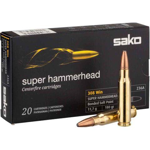 SAKO AMMO 308WIN 180GR SUPER HAMMERHEAD SP 20PKT