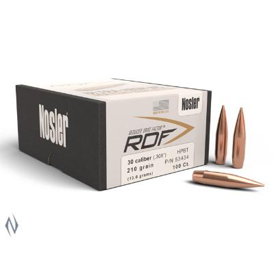 NOSLER 30CAL .308 RDF 210GR HPBT PROJECTILES 100PK