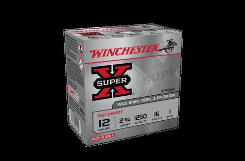 WINCHESTER SUPER X BUCK SHOT 1250FPS 1 BUCK 16 PELLET 25PK