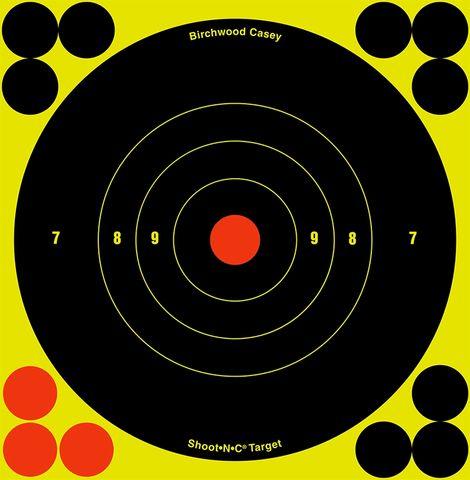 BIRCHWOOD CASEY TARGETS SHOOT N SEE BULLSEYE 6INCH  12PKT