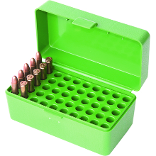 MTM 50RND HINGED TOP AMMO BOX 22 HORNET GREEN