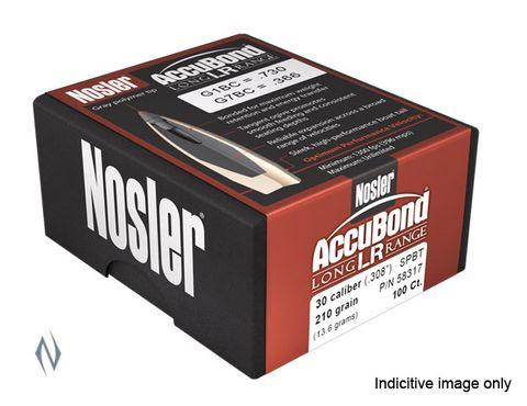 NOSLER 30CAL .308 210GR ACCUBOND LR PROJECTILES 100PK