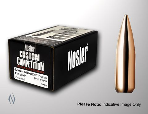 NOSLER 30CAL .308 155GR CUSTOM COMP PROJECTILES 100PK