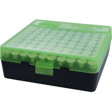 MTM 100RND HANDGUN AMMO BOX 38SPL 357MAG CLEAR GREEN